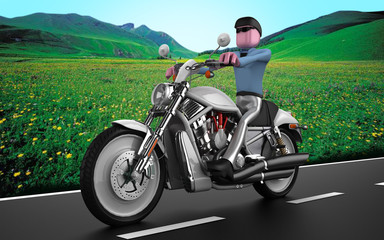 uomo in moto con sfondo