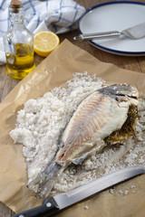 Sea bream baked in salt