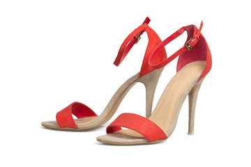 Red high hell shoes isolated over white with clipping path.
