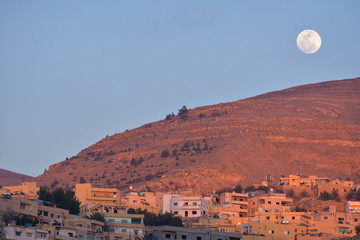 Moon over Wadi Musa, Jordan