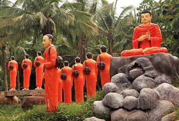 Buddha statues in UNESCO World Heritage Centre in Sri Lanka.