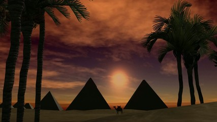 Sunset over pyramids in the dessert