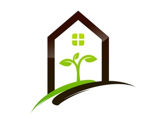logo symbol icon house shelter plants health and clean vectors