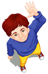 A topview of a boy waving while facing the sky