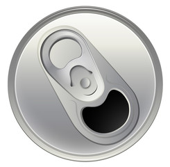 A topview of a beverage can
