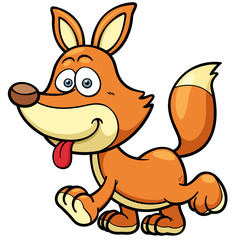 Vector illustration of Cartoon fox