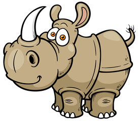 Vector illustration of Cartoon rhino