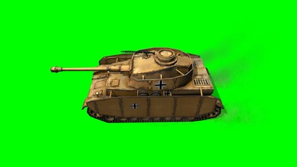 WW2 German  Battle Tank in drive - green screen