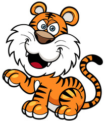 Vector illustration of Tiger cartoon