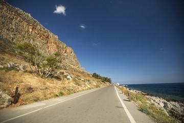 Road of Greek island Monemvasia.
