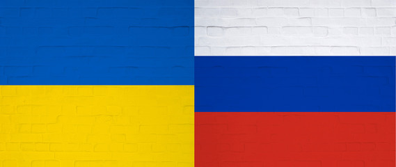 wall with ukraine and russian flags