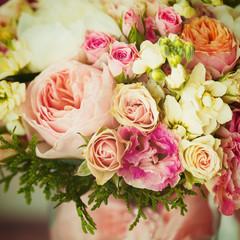 Wedding flowers. Instagram effect, vintage colors.