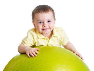 Kid girl with  gymnastic ball isolated