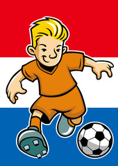 Holland soccer player with flag background
