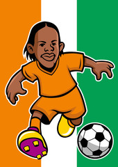 Ivory coast soccer player with flag background