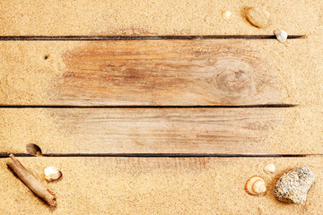 Beach sand on vintage planked wood background