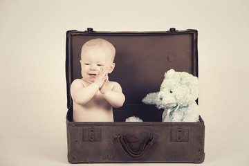 Boy in Vintage Suitcase