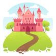 Obrazy na płótnie, fototapety, zdjęcia, fotoobrazy drukowane : Cute cartoon vector medieval castle