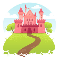 Cute cartoon vector medieval castle