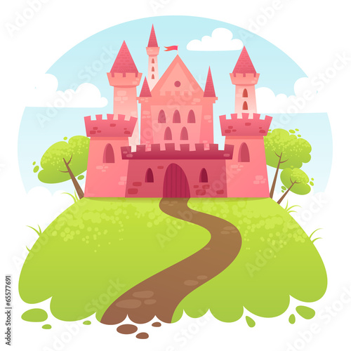 Foto op Aluminium Kasteel Cute cartoon vector medieval castle
