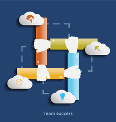 Team success flat design concept template with  icons
