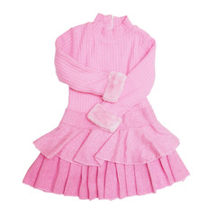 pink kid dress with long sleeves on white background