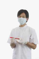 歯の模型と歯ブラシを持つ歯科医師