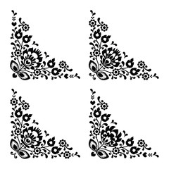 Corner border Polish folk embroidery pattern - wzory lowickie
