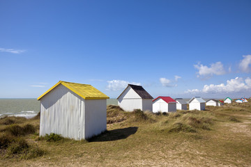 Colorful beach cabins at Gouville-Sur-Mer, Normandy