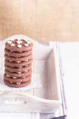 Chocolate cookies stack