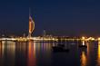 Leinwandbild Motiv Portsmouth waterfront at night