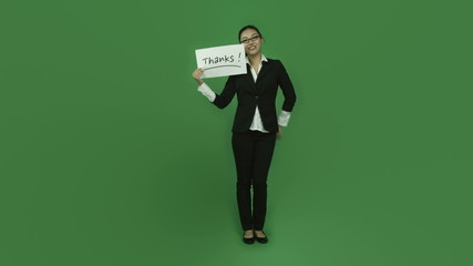 Asian business woman isolated greenscreen green background