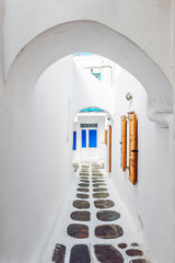 Typical pathway in Mykonos old town