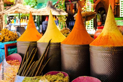 Aluminium Spices Moroccan spice stall in marrakech market, morocco