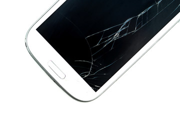 Broken screen smart phone on white background