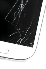 Broken screen smart phone on white background