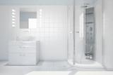 Bad mit Waschbecken und Dusche - 65580640