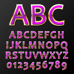 Vector illustration of a purple metal alphabet
