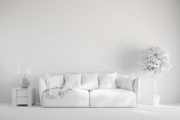 Wohnzimmer mit Sofa in weiß