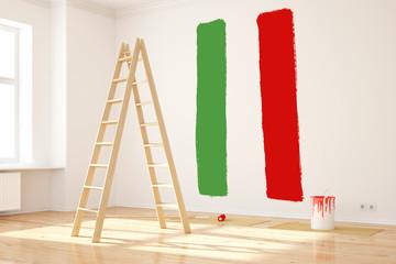 Flagge von Italien an Wand
