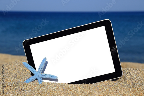 canvas print picture Promotional tablet template on the beach