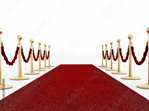 Red carpet and velvet ropes isolated on white
