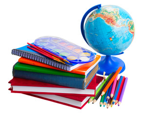 books with school supply and globe