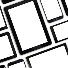 Set of blank templates digital devices isolated on white