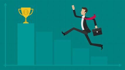 Concept businessman graph cup