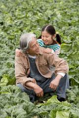 畑の中に座る祖父と孫