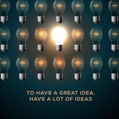 Idea concept, row of light bulbs.