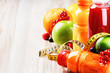 Fresh fruit juices in healthy nutrition setting