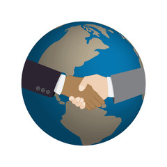 Handshake with world map background