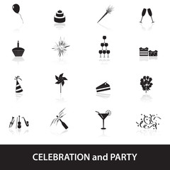 celebration and party icons set eps10